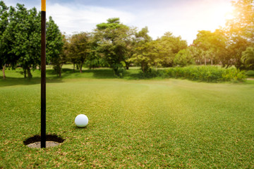 White Golf ball on green course near hole cup to be win on blurred beautiful landscape of golf course in bright day time with copy space. Sport, Recreation, Relax in holiday concept