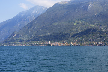Lake Garda, the largest lake in Italy, situated on the edge of the Dolomites, Italy.