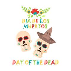 Day of the dead poster, Mexican dia de los muertos sugar skull holiday vector illustration.