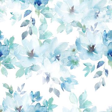 Watercolor seamless pattern. Floral print. Hand drawn watercolour illustration