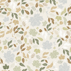 Vector seamless pattern of autumn leaves. Background for textile or book covers, wallpapers, design, graphic art, printing, hobby, invitation.
