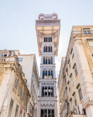 The elevator of Santa Justa, in the downtown of Lisbon, Portugal