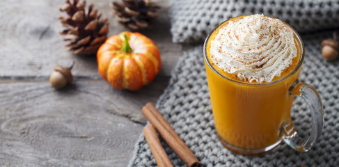 Pumpkin latte with spices. Boozy cocktail with whipped cream. Wooden background. Copy space.