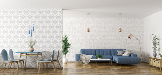 Interior of living room with sofa and table and chairs 3d rendering Wall mural