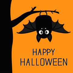 Happy Halloween. Bat hanging on tree. Cute cartoon baby character with big open wing, ears, legs. Black silhouette. Forest animal. Flat design. Orange background. Isolated. Greeting card.