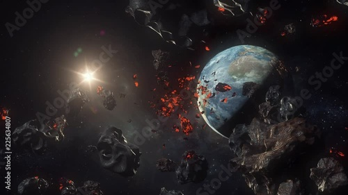 Realistic Space view of asteroids and meteors coming towards Earth