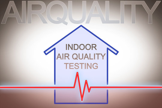 Indoor air quality testing - concept image with check-up chart about indoor pollutants