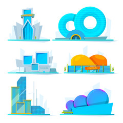 Fantastic buildings of future. Vector cartoon pictures town construction, skyscraper architectural, famous stadium and office illustration