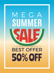 Summer sale. Design template of vector advertising poster. Poster banner discount season illustration