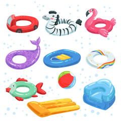 Various rubber equipment for water park. Vector pictures of inflatable toys. Swim equipment circle inflatable and bright illustration