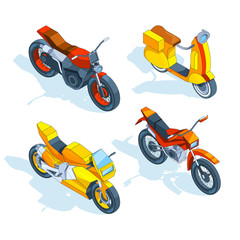 Motorcycles isometric. 3d vector pictures of transport. Motorbike transport, bike and motorcycle, transportation two-wheeled. Vector illustration