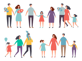 Male and female couples. Childrens and family couples characters isolate on white. Family mother father girl and boy, vector illustration