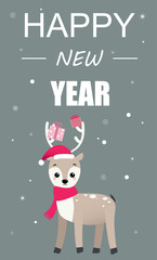 Happy New Year greeting card with cute cartoon deer with gifts.