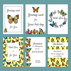 Cards with butterflies. Design template of cards invitation with illustrations of colored butterflies. Vector invitation card with colored butterfly