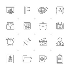 Line Business and office icons - vector icon set