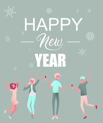 Happy New Year greeting card with happy dancing people.