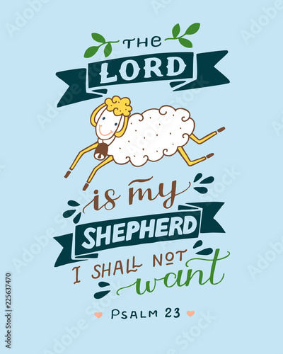 Hand Lettering And Bible Verse The Lord Is My Shepherd With Sheep