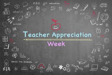National teacher appreciation week on black chalkboard with doodle