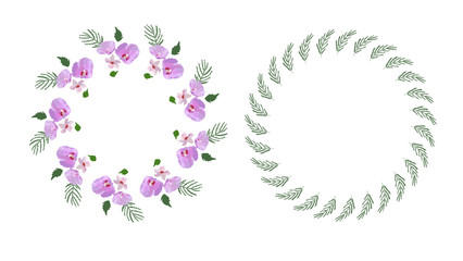 Floral design wreath, with hibiscus flowers and leaves hand drawn. Colorful vector illustration