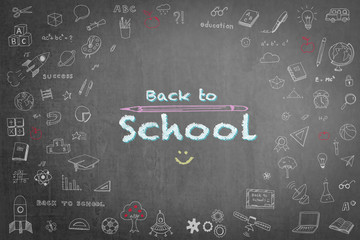 Back to school greeting with on black chalkboard with doodle
