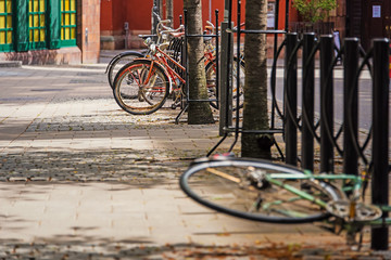 Bicycles on Stocholm`s street