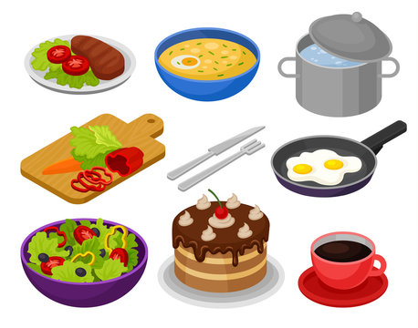 Vector set of isometric food icons. Fried eggs, bowl of soup, cake, vegetable salad, cup of coffee