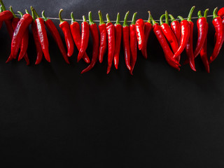 Red hot spicy chili pepper on the black background.  A row of red hot chili peppers hanging.
