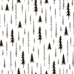Seamless pattern with black fir trees on a white background.Vector texture