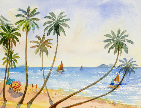 Painting watercolor seascape of family vacation.