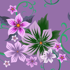Floral vector seamless pattern for the design of textiles, wrapping paper, wallpaper on a lilac background. Bright multicolored flowers and leaves. Modern colors, trendy print.
