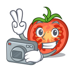 Photographer cartoon fresh tomato slices for cooking