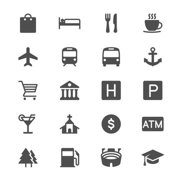 Map and location glyph icons