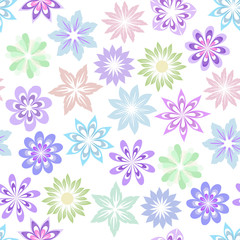 Vector floral pattern in gentle pastel colors on a white background. Set of multicolored decorative flowers for the design of children's textiles, wallpaper, wrapping paper.