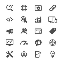 Search engine optimization glyph icons