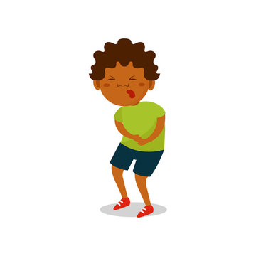Cute african american boy suffering from stomach ache vector Illustration on a white background
