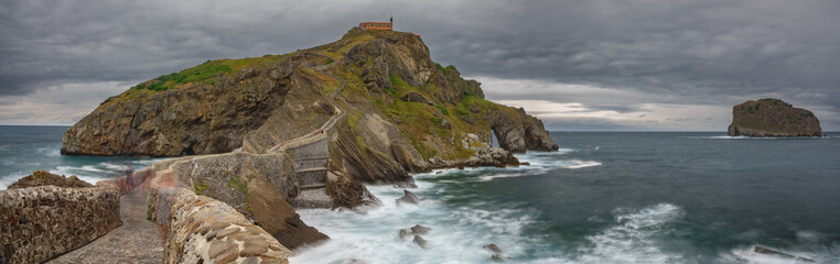 San Juan de Gaztelugatxe Church long exposure wide panorama