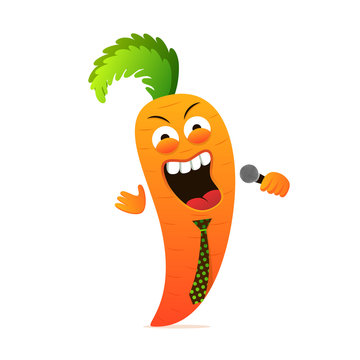 Carrot singer character. Comic funny host, stand up. Vector illustration for recipe, show, cook book