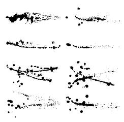 Set of abstract ink splatter