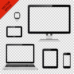 Various modern electronic devices with transparent screen isolated on transparent background