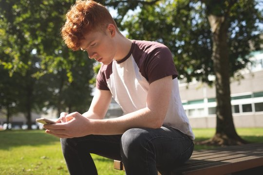 College student using mobile phone