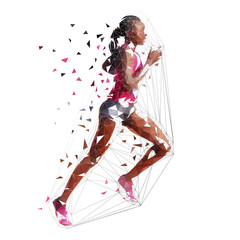 Running woman, low polygonal isolated vector illustration. African american marathon runner, side view. Run, active people