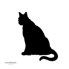 Black silhouette of sitting puma. Isolated image of cougar on white background. Animal of North America