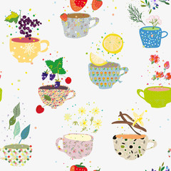 Tea cups seamless pattern with many sorts, retro style. Vector graphic illustration