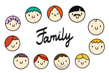 Family round heads illustration logo and lettering on white font