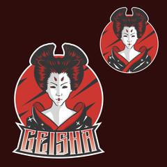 Geisha Japan Girls esports mascot logo design for sport team