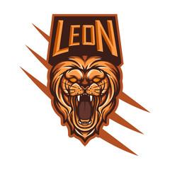 Lion mascot logo template for sport, game crew, company logo, college team logo