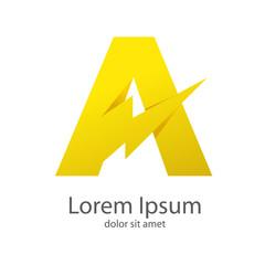 Logotipo letra A estilo rayo con sombras color amarillo