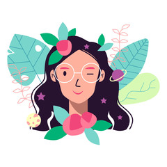 Girl flat character with plants. Vector illustration. Eps 10.