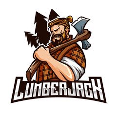 Lumberjack Mascot Modern sport logo template with image of the lumberjack with two axes in his hands