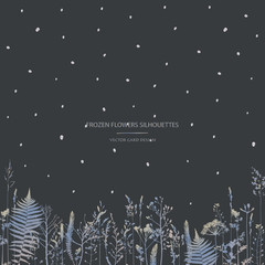 Vector silhouettes collection. Set of field flowers, herbs. Card design. Frozen effect.